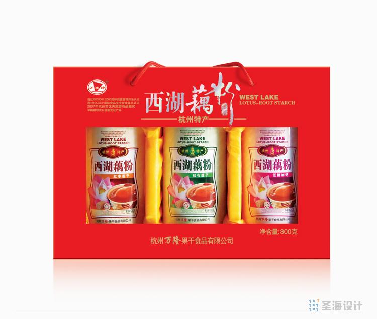 萬隆杭州糕點特產/西湖藕粉/杭州包裝設計/圣海包裝設計