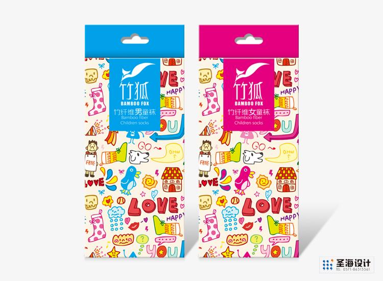 竹狐紡織品包裝/兒童竹纖襪子/杭州包裝設計/杭州圣海包裝藝術設計有限公司