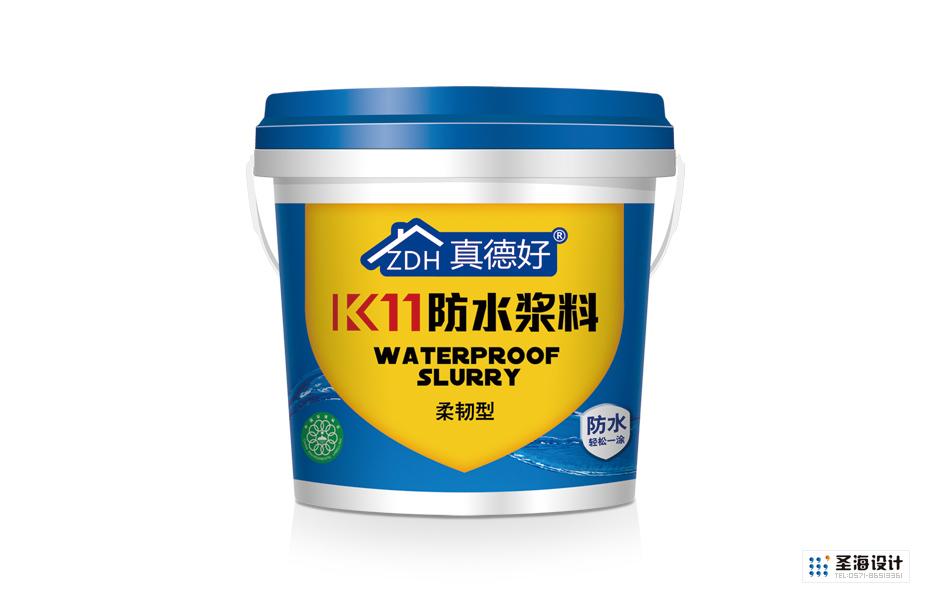 真德好防水浆料|建筑材料包装设计|浆料桶标设计|杭州圣海包装艺术设计有限公司|杭州包装设计