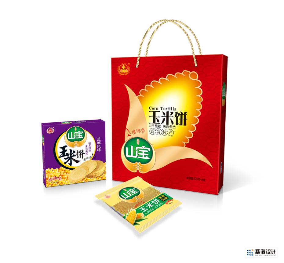 山寶品牌禮盒包裝設計|蕎麥餅|燕麥餅|小米餅|高梁餅|紅薯餅|玉米餅|南瓜餅|山寶粗糧|杭州圣海包裝藝術設計有限公司|