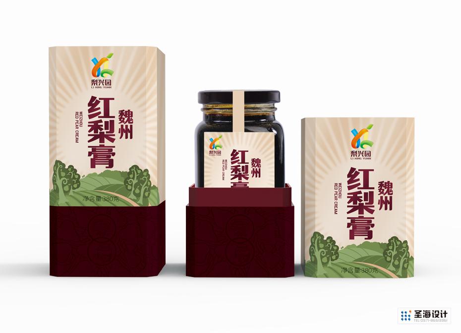 梨興園魏州紅梨膏單瓶禮盒裝|梨興園品牌|杭州包裝設計有限公司|品牌包裝設計