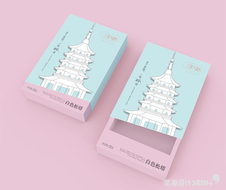 白色松塔白巧克力松塔 三茶六礼 杭州品牌 杭州圣海包装艺术设计 包装设计 杭州包装设计